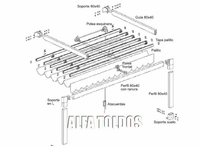 Perfiles para pergolas de aluminio materiales de for Perfiles de aluminio para toldos de palilleria